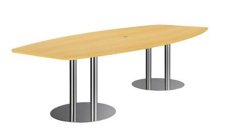 Konferenztisch KT28S B/T: 2800 x 1300/850 mm mit Säulenfuss: Chrom, Platte: Buche
