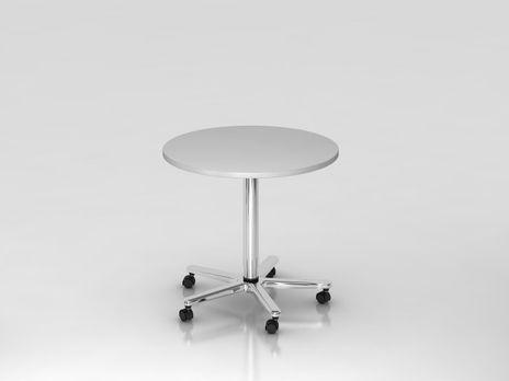 Säulentisch ST08, 80 cm rund, Platte: Grau, Gestell: Chrom
