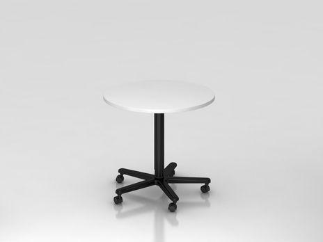 Säulentisch ST08, 80 cm rund, Platte: Weiss, Gestell: Schwarz