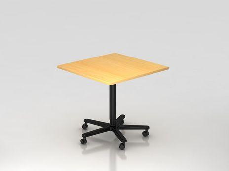 Säulentisch ST88, 80 x 80 cm quadratisch, Platte: Buche, Gestell: Schwarz