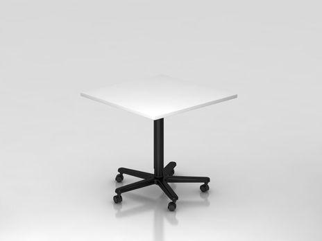 Säulentisch ST88, 80 x 80 cm quadratisch, Platte: Weiss, Gestell: Schwarz