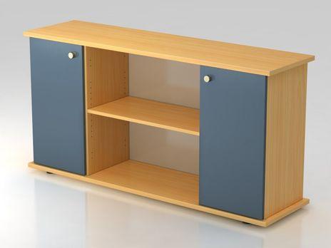 Sideboard SB2T SG, 2 OH,  Korpus: Buche / Front: Blau, 166,1 x 42 x 84 cm (BxTxH)