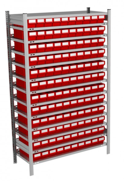 Fachbodenregal mit 120 Regalboxen rot, 500 mm tief – Bild 1