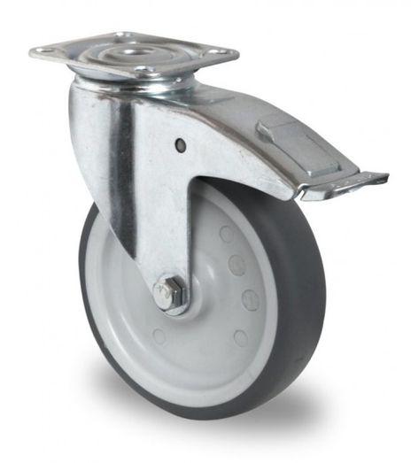 4 Schwere Apparaterolle, Lenkrollen mit Feststeller, Alu Pedal Ø 125mm