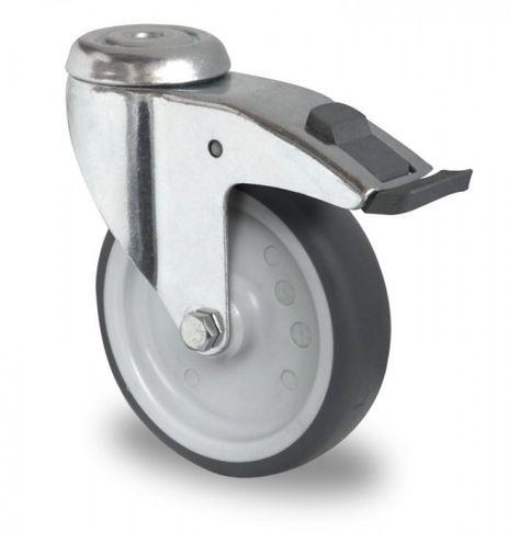 4 Schwere Apparaterollen, Rückenloch Lenkrollen mit Feststeller, Kunststoffpedal Ø 100mm