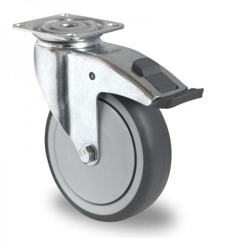 Schwere Apparaterolle, Lenkrolle mit Feststeller, Kunststoffpedal Ø 100mm