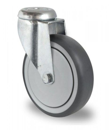 4 Schwere Apparaterolle, Rückenlochlenkrollen Ø 100mm