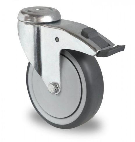 4 Schwere Apparaterollen, Lenkrollen mit Feststeller, Kunststoffpedal Ø 100mm