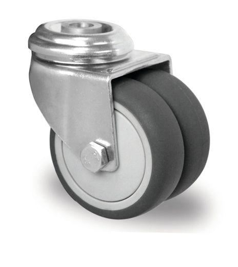 Rückenloch Doppel-Lenkrolle Ø 75mm