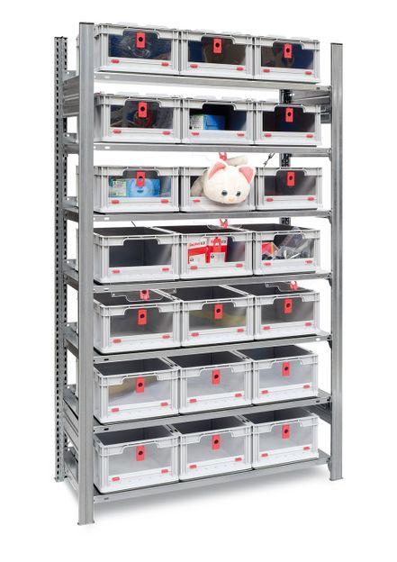 Fachbodenregal mit 21 Euroboxen, Eurobehaelter mit Frontöffnung und Klappe – Bild 2