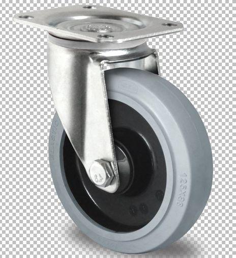 4 Lenkrollen aus Polyamid und Elastik grau Lauffläche Ø 125mm