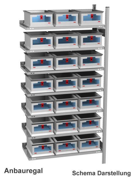 Anbau-Fachbodenregal mit 21 Euroboxen, Eurobehaelter mit Frontöffnung – Bild 1