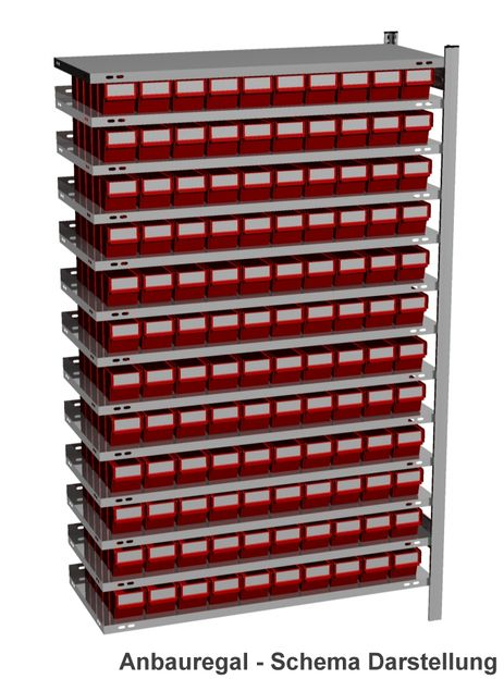 Anbau-Fachbodenregal mit 120 Regalboxen rot, 500 mm tief – Bild 1