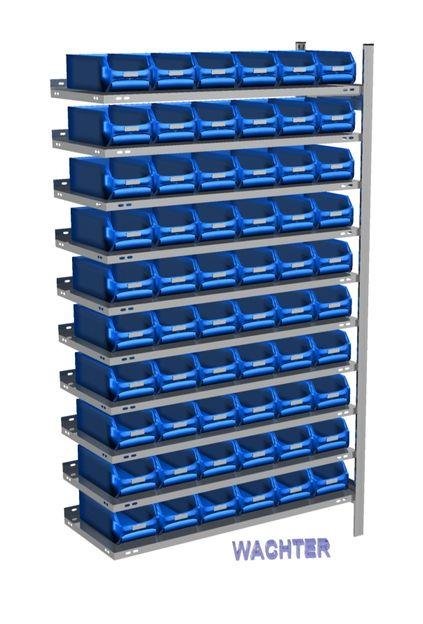 Anbau-Fachbodenregal mit 60 Sichtlagerkästen blau, 300 mm tief – Bild 1