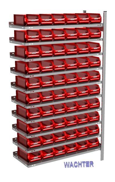 Anbau-Fachbodenregal mit 60 Sichtlagerkästen rot, 300 mm tief – Bild 1