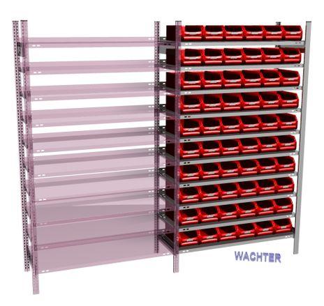 Anbau-Fachbodenregal mit 60 Sichtlagerkästen rot, 300 mm tief – Bild 2