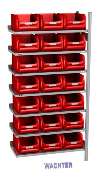 Anbau-Fachbodenregal mit 21 Sichtlagerkästen rot, 500 mm tief – Bild 1