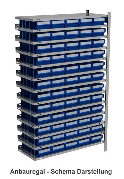 Anbau-Fachbodenregal mit 60 Regalboxen blau, 300 mm tief – Bild 1