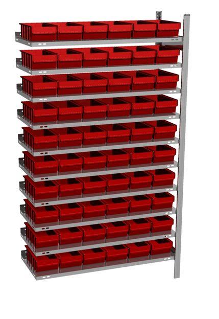 Anbau-Fachbodenregal mit 60 Regalboxen rot, 500 mm tief – Bild 1