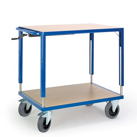 Höhenverstellbarer Tischwagen mit 2 Ladeflächen