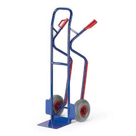 Stapelkarre mit Treppenrutschkufen, Luftreifen, 480 mm Schaufelbreite