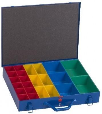 Kleinteile-Koffer mit 23 Einsatzboxen aus Metall, blau