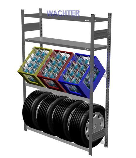 Getränkekisten- und Reifenregal mit 2 Fachböden – Bild 1