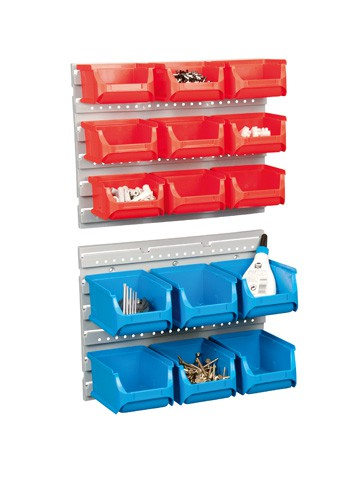Sichtboxen-Set, 15-tlg. ProfiPlus Compact Set, rot/blau, 2 Wandhalterung – Bild 1