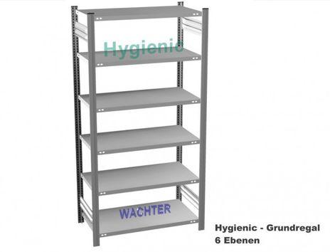 Fachbodenregal Hygienic mit 6 Fachboeden, H/B/T: 2500/1000/800 mm – Bild 1