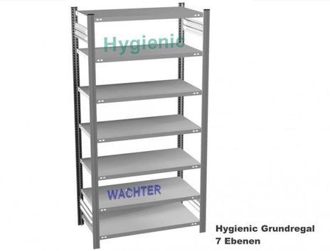 Fachbodenregal Hygienic mit 7 Fachboeden, H/B/T: 3000/1000/600 mm – Bild 1
