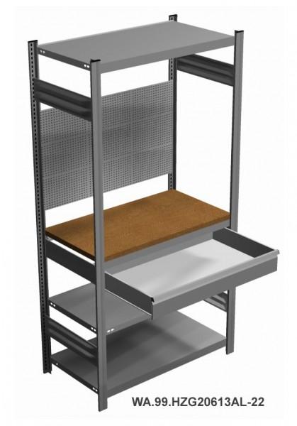 Werkstatt-Garagenregal mit Arbeitsplatte, Schublade, Lochwand, H = 2000 x B = 1060 x T = 535 mm – Bild 1