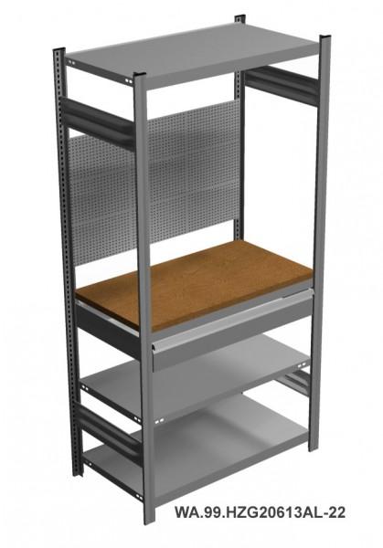 Werkstatt-Garagenregal mit Arbeitsplatte, Schublade, Lochwand, H = 2000 x B = 1360 x T = 535 mm – Bild 1