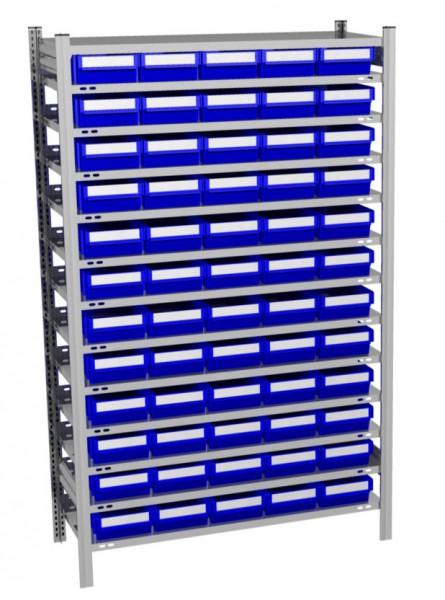 Fachbodenregal mit 60 Regalboxen blau, 500 mm tief – Bild 1