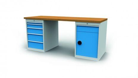 Reihenwerkbank R 18-24 mit 2 Schubladenschränke, 1 Tür
