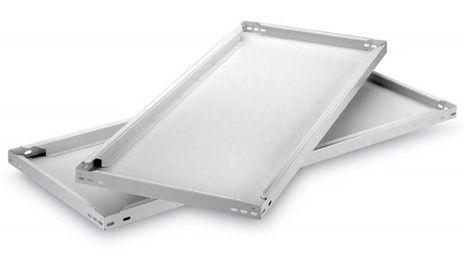 Fachboden für Steckregal, B/T/H: 1300/300-800/40 mm, lichtgrau – Bild 1