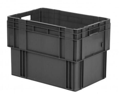 Drehstapelkasten Serie DTK 600/420-0, 2 Stück, Farbe: Grau – Bild 1