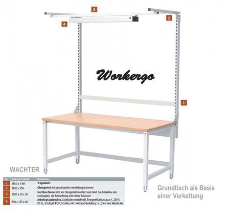 Workergo Grundtisch mit Obergestell, Klemmbefestigung – Bild 1