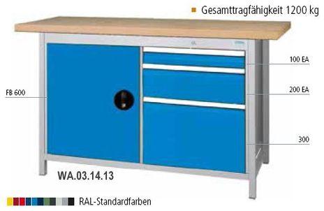 Kastenwerkbank 1500 mit 3 Schubladen, 1 Flügeltür, B/T/H 1500x750x859