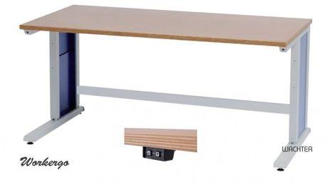 Workergo Grundtisch mit elektrischem Hubmotor, C-Fuß – Bild 1