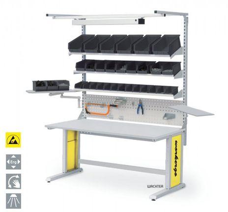 Workergo ESD Tisch Kombination, C-Fuß mit Aufbau – Bild 1