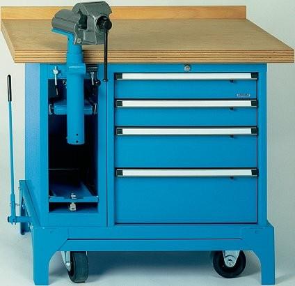 Fahrbare Werkbank Typ FMW 100/4 mit 4 Schubladen und mit Kabelaufroller