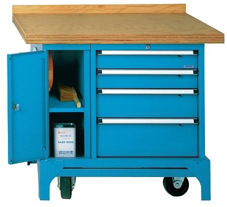 Fahrbare Werkbank Typ FMW 100/U mit 4 Schubladen und mit Kabelaufroller