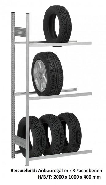 Reifen-/ Räderregal, H/B/T: 3000/1000/400 mm, Anbauregal verzinkt – Bild 1