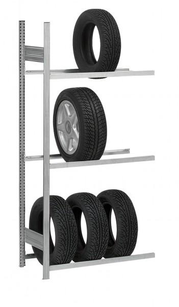 Reifen-/ Räderregal, H/B/T: 3000/1500/400 mm, Anbauregal verzinkt – Bild 1