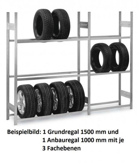 Reifen-/ Räderregal, H/B/T: 3000/1500/400 mm, Anbauregal verzinkt – Bild 4