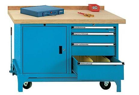 Fahrbare Werkbank Typ FWB mit 4 Schubladen und 1 Türe