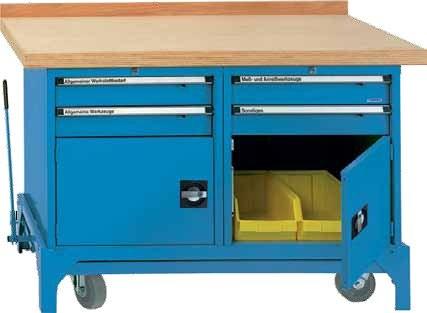 Fahrbare Werkbank Typ FWB mit 4 Schubladen und 2 Türen