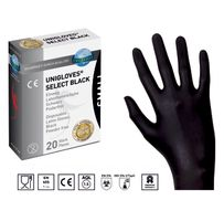 20 Stk. Unigloves Select Black Latex-Handschuhe SCHWARZ Gr.XL