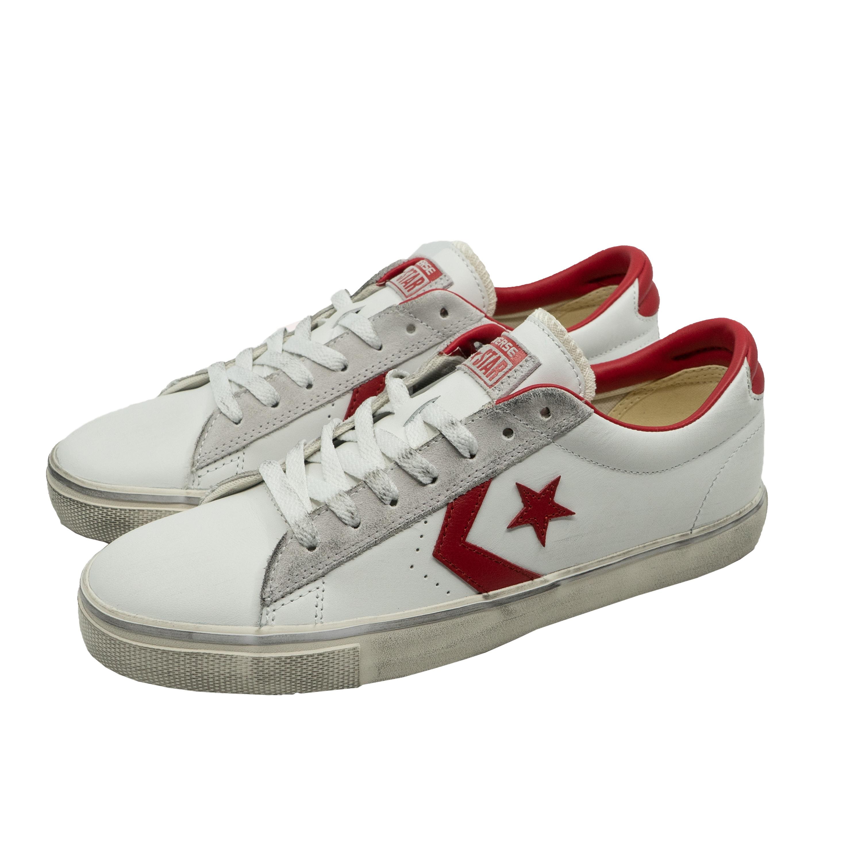 Details zu Converse PRO LEATHER VULC OX DISTRESSED Sneakers Turn-Schuhe  Unisex Weiß Rot