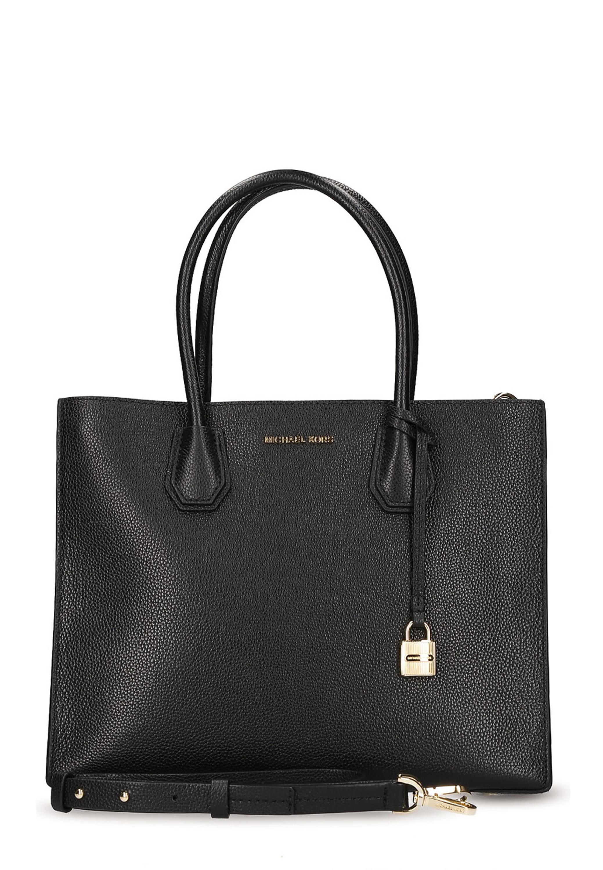 Details zu Michael Kors Mercer Damen Hand tasche Shopper Schwarz Gold Leder 100% Original